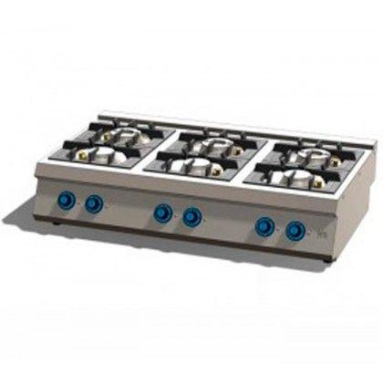 Cocina A Gas 6 Fuegos 750 Sobremesa C6f750s Fainca Hr En Acero