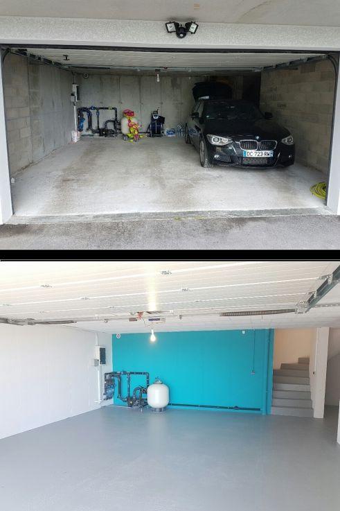 Avant / Après Peinture d un sous sol garage et escalier DECO - peinture beton cire mur
