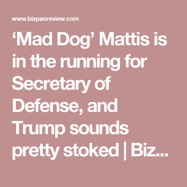 'Mad Dog' Mattis is in the running for Secretary of Defense, and Trump sounds pretty stoked | BizPac Review