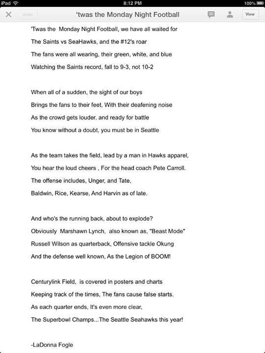 Love This Poem Seahawks Seattle Seahawks Football Monday Night Football Seahawks