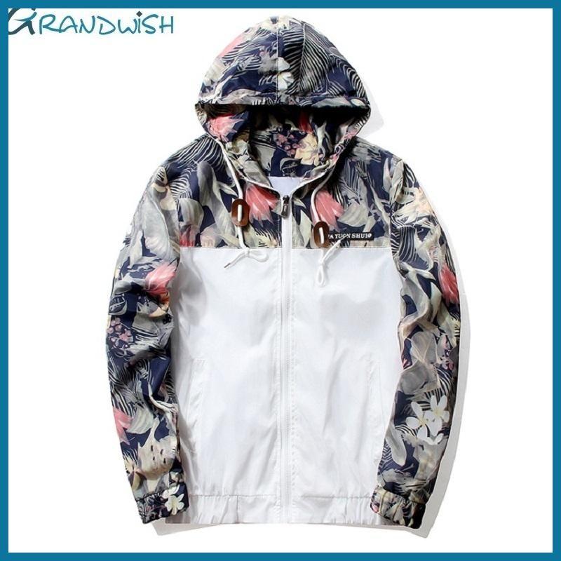 Grandwish Floral Bomber Jacket Men Hip Hop Slim Fit Flowers Pilot Bomber  Jacket Coat Men s Hooded Jackets Plus Size 4XL  1297a06d14f