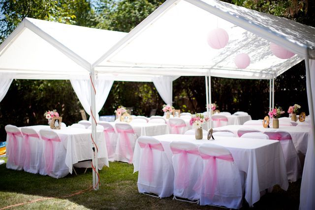Pink And White Baptism Party Ideas Baptism Party Backyard Baby