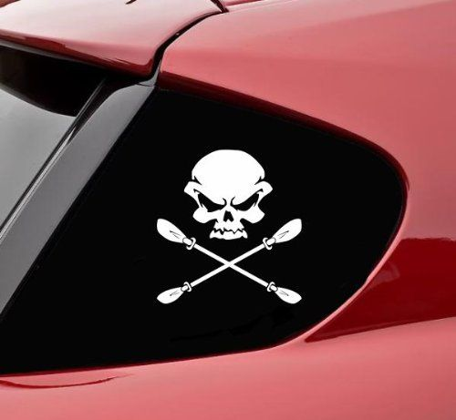 Skull And Kayak Paddle Crossbones Funny Vinyl Decal