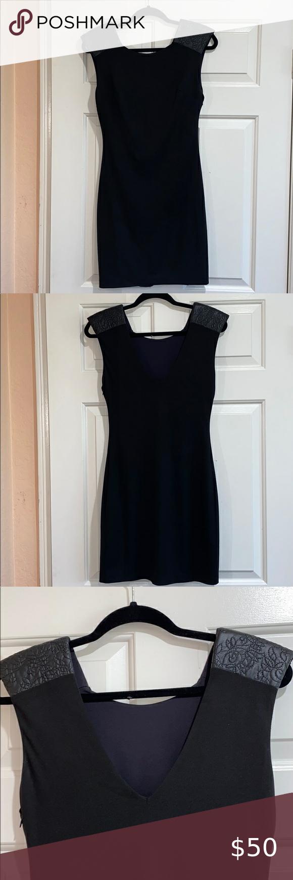 Guess Black Mini Dress W Leather Shoulder Pads Mini Black Dress Perfect Little Black Dress Dresses [ 1740 x 580 Pixel ]