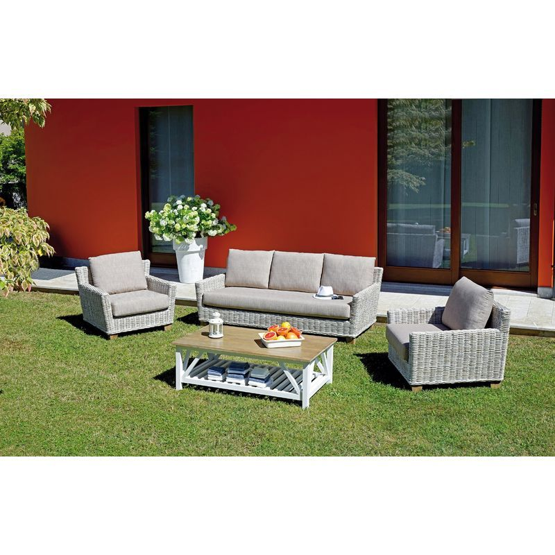 Set De Jardin Jaipur En Fibre Naturelle Blanchie Kubu Gris Beige Outdoor Furniture Sets Outdoor Furniture Outdoor Sectional