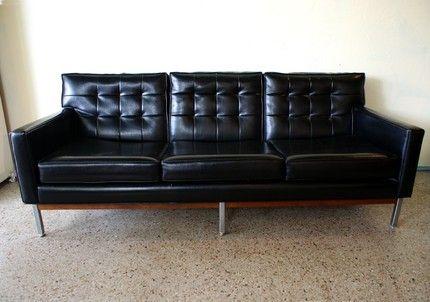 Vintage mid century modern black vinyl Knoll sofa ~ The Vintage Supply Co