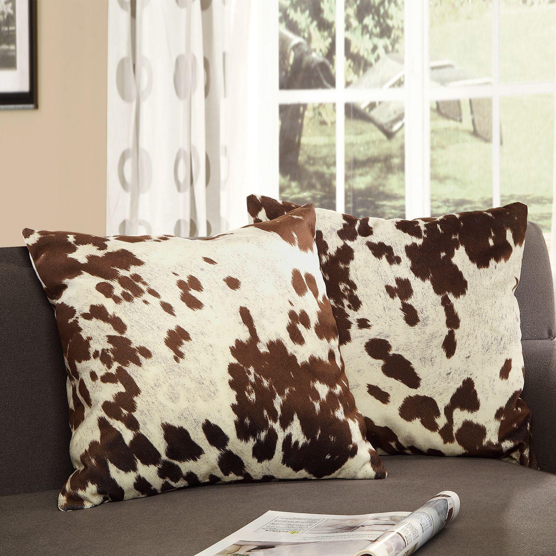 Tribecca Home Decor Cow Hide Print Pillow Set of 2 Dcor Cow