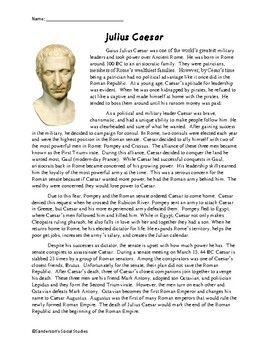 Julius Caesar Reading Comprehension Worksheet   Reading ...