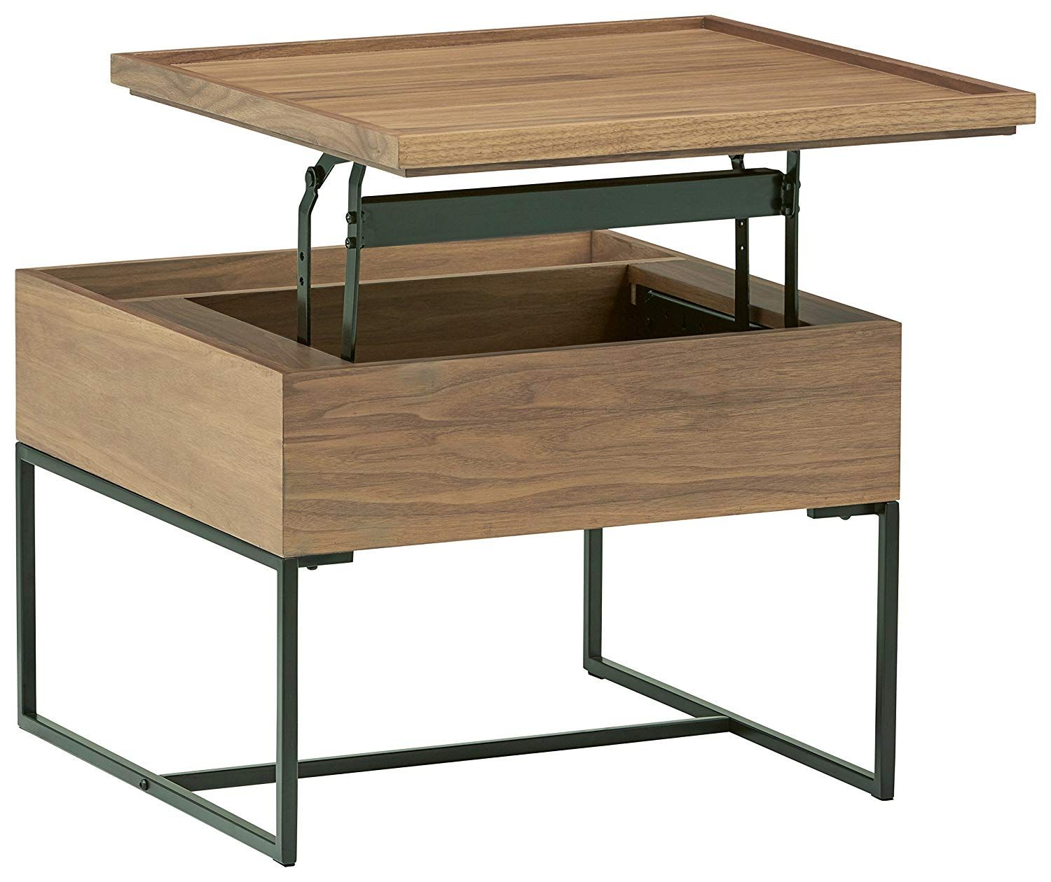 Amazon Com Rivet Axel Lift Up Wood And Metal Side Table Walnut Home Kitchen Metal Side Table Metal End Tables Wood And Metal [ 1260 x 1500 Pixel ]