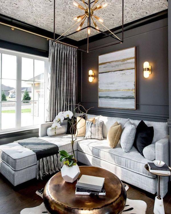 schwarze innengestaltung wohnzimmer ideen Wohnzimmer - wohnzimmer ideen schwarzes sofa