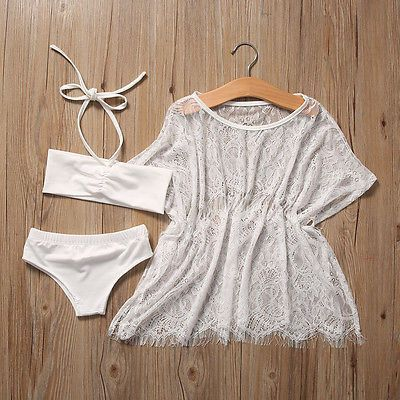 0903de63ce9 Kids Baby Girl Halter Tops Bottom Bikini Set Lace Cover Up 3pcs Swimsuit  Bathing Suit Swimwear Cosutme White Swim Beachear 1-6Y
