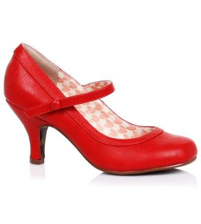 Bettie Page 'Bettie' Mary Janes - Red [Special Order]