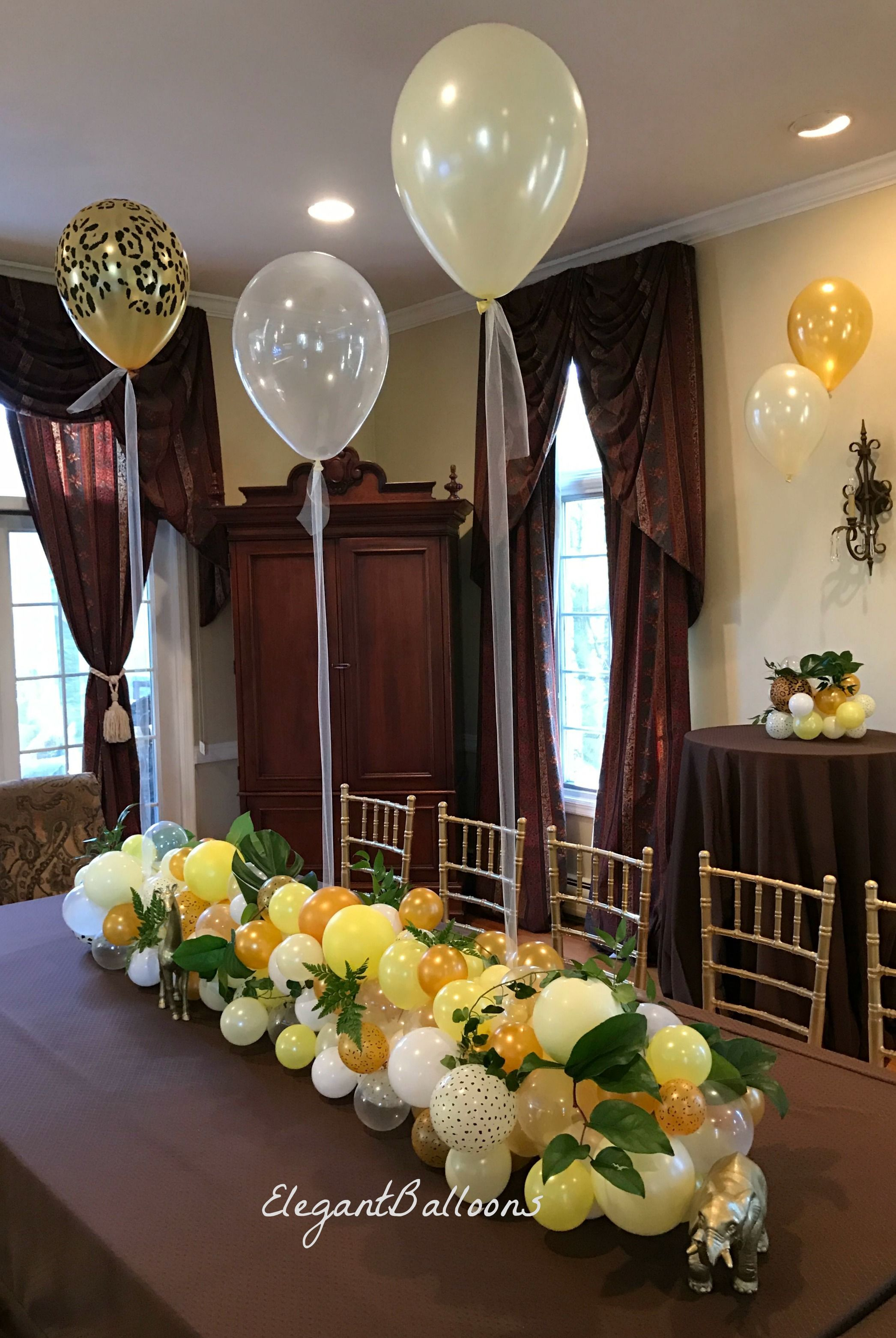 Organic balloon table runner elegantballoons for Birthday balloon centerpiece ideas