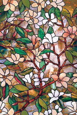 New Floral Privacy Stained Glass Decorative Window Film Vinyl