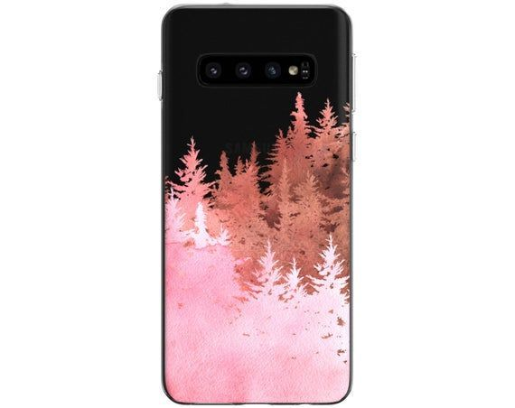 Forest print Case Note 10 Plus Pink trees Samsung S10 Cover | Etsy