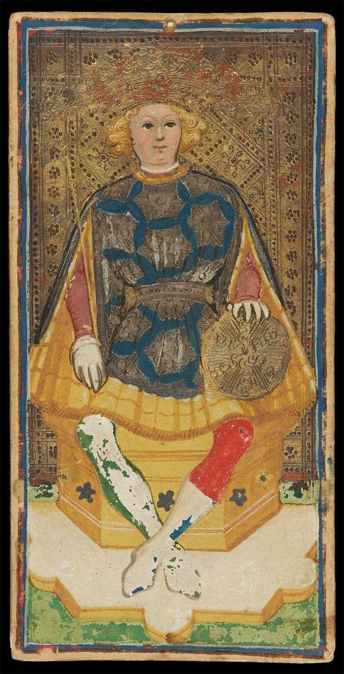 The King of Coins | Bonifacio Bembo for Visconti-Sforza Family | Medieval Tarot Cards | ca. 1450 | card no. 20 | The Morgan Library & Museum