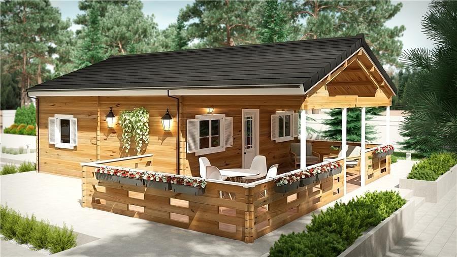 Antares d 50 m 45mm con porche y altillo bungalows de - Bungalows de madera prefabricadas precios ...