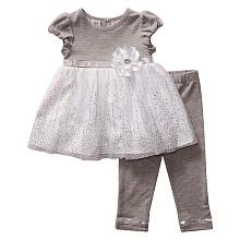 Youngland Girls 2 Piece Grey/White Short Sleeve Empire Waist Tunic with Sequins and Grey Legging Set