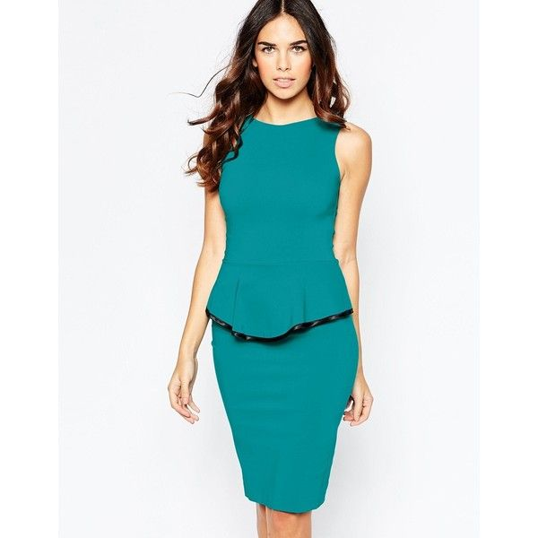 Vesper Sophie Peplum Midi Dress with Contrast Trim Detail ($58) ❤ liked on Polyvore featuring dresses, teal, peplum dress, white body con dress, blue bodycon dress, bodycon dress and peplum cocktail dress