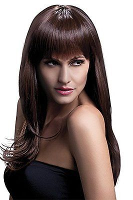 Wigs and Facial Hair 155350  Fever Women S Sienna Long Feathered With  Fringe Brown Wig With Bangs 894118bb0f