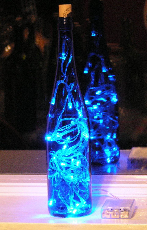Blue Wine Centerpiece Blue Wine Bottle Light With Blue