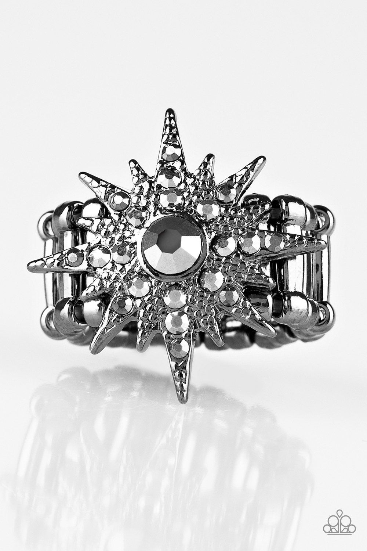 Paparazzi Super Stellar Black Gunmetal Frame Hematite Rhinestone Star Design Ring In 2020 Black Rings Gunmetal Ring Womens Fashion Jewelry