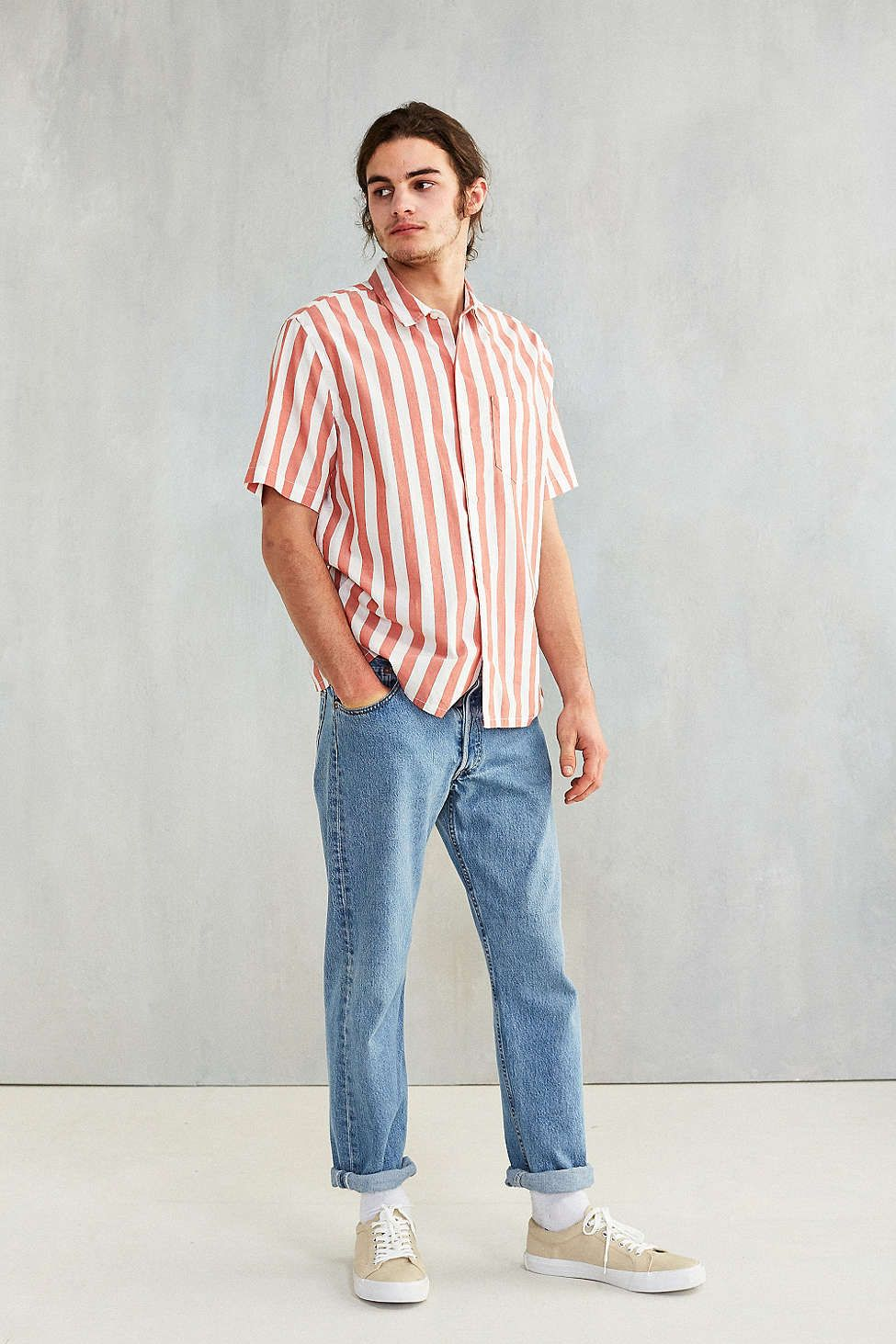 CPO Awning Stripe Short-Sleeve Button-Down Shirt | Striped shorts ...