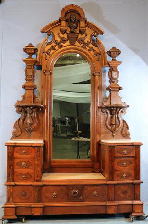 Beautiful walnut Victorian drop center dresser with M/T