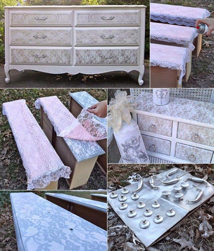 alte m bel neu gestalten mit sprayfarbe und spitze deko pinterest alte m bel gestalten. Black Bedroom Furniture Sets. Home Design Ideas