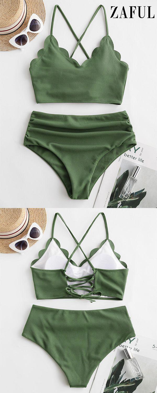 ZAFUL Ribbed Scalloped Lace Up Tummy Control Tankini Swimsuit