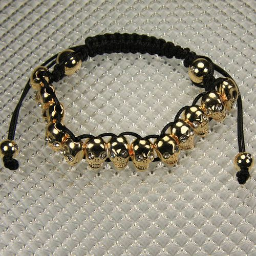 Shamballa Bracelet Gold Gothic Skulls on Black Macrame - L266  $30.00