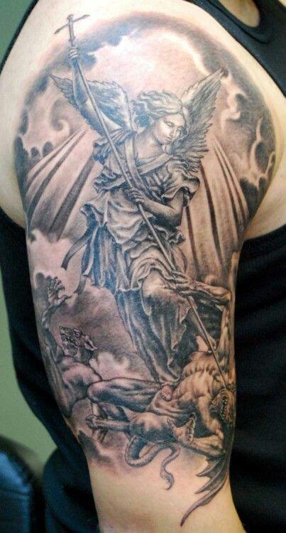 Angel Vs Demon Tattoo Archangel Tattoo St Michael Tattoo Guardian Angel Tattoo Designs