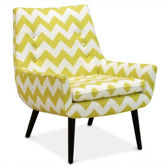 Jonathan Adler Yellow Chevron Chair Mrs. Godfrey Chair In Limitless Linden