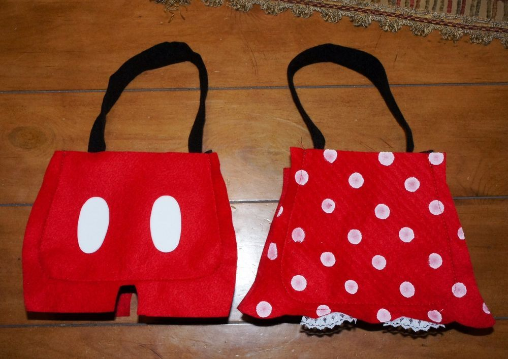 Mickey Minnie Mouse Handmade Party Bags Favors Red Polka