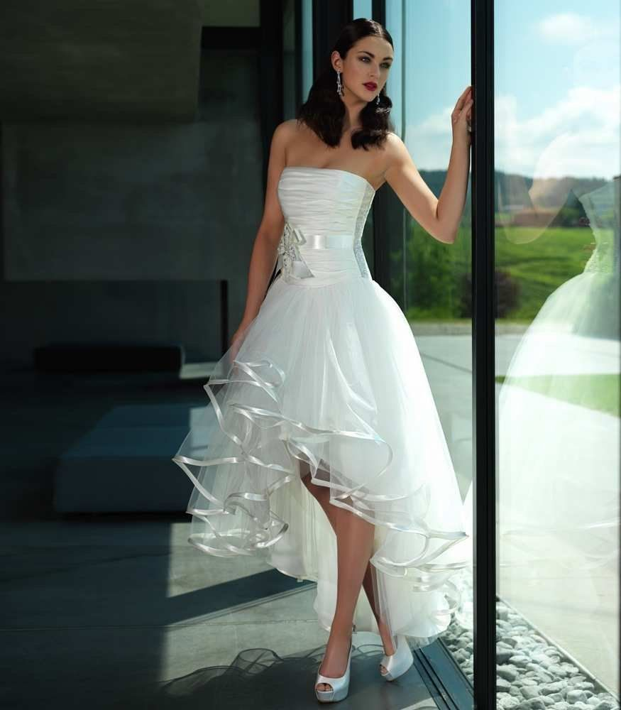 Cheap wedding dresses short front long back  Short in front  long in back Wedding dresses Feather Bodice Gloria