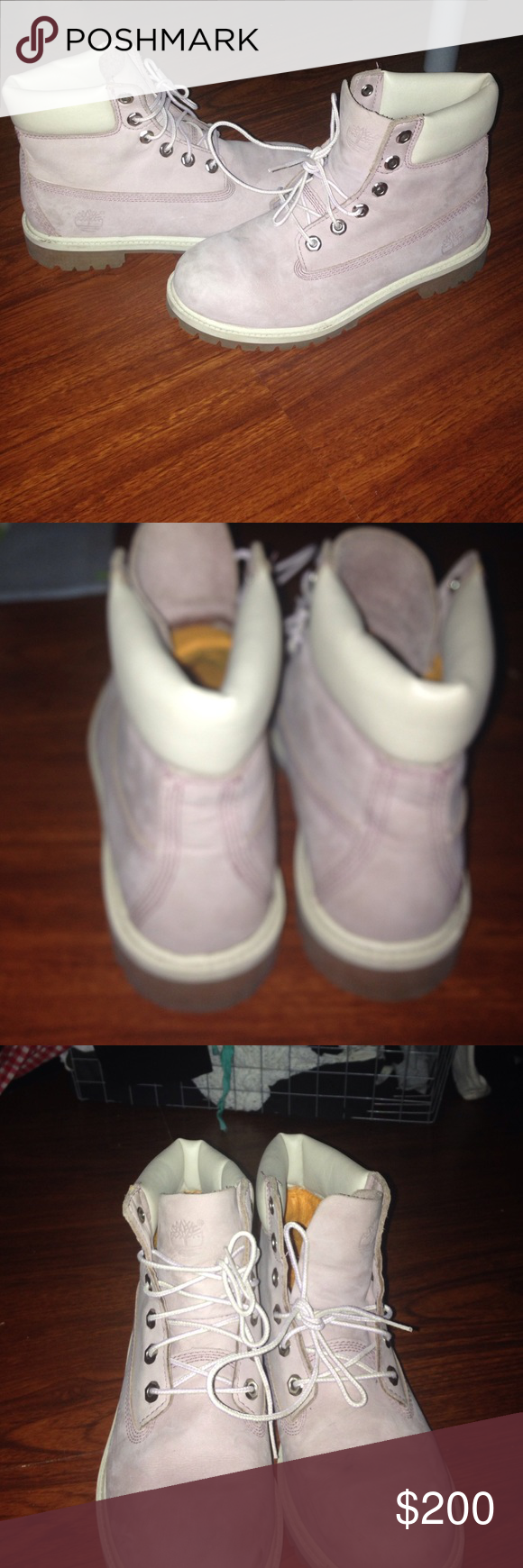 Lavender Timberland Boots These boots are in great condition, they were only worn once or twice. They are a size 6 in junior, which is a 39 in European shoe sizes, and a US women's size 8. They are also very stylish! Timberland Shoes Boots