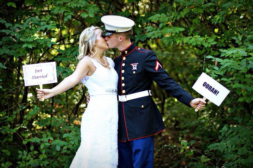 Just Married OORAH Marine Corps Wedding