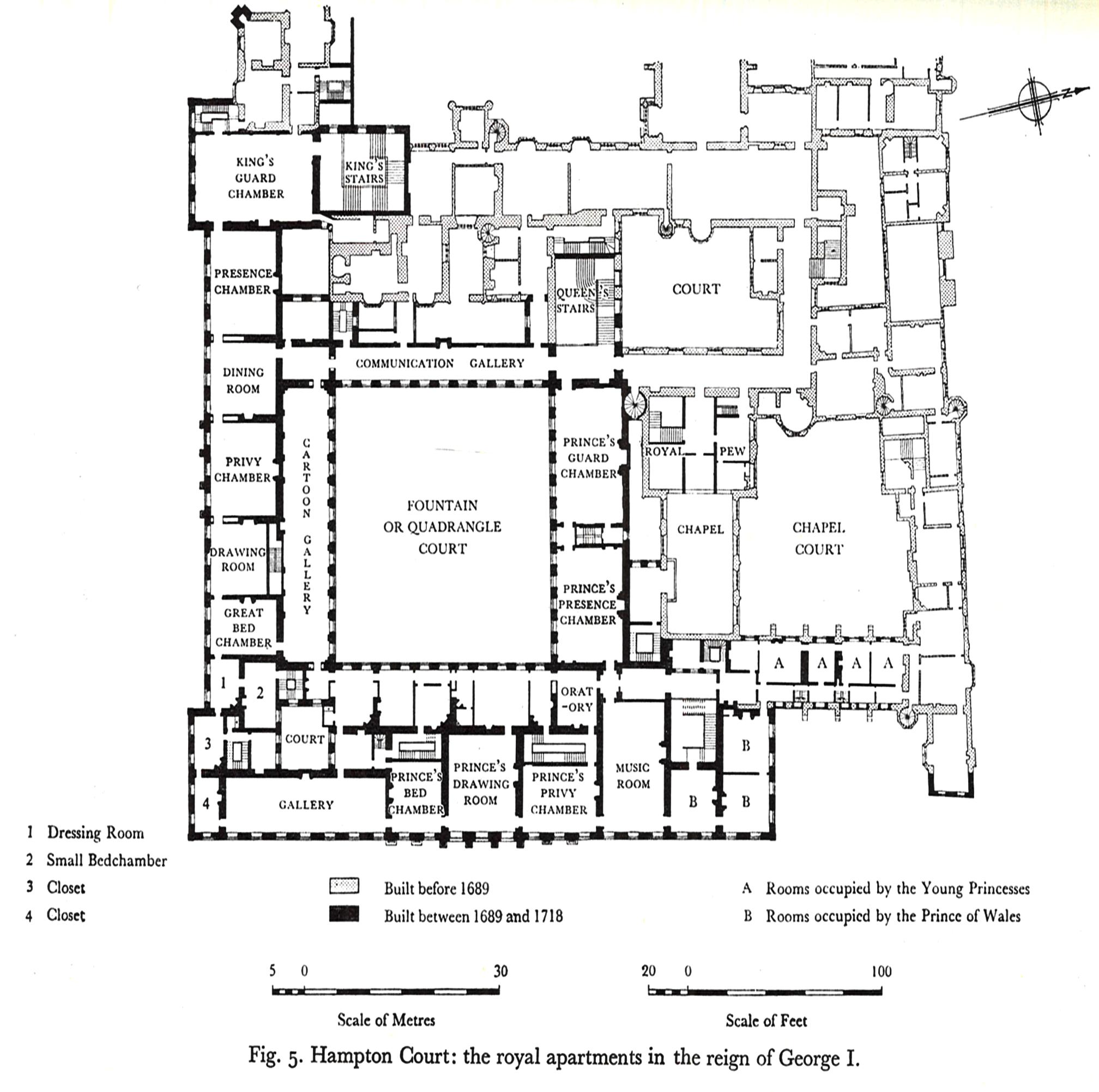 Hampton Court Palace First Floor Plan Under George I Circa 1720 Castle Floor Plan Mansion Floor Plan Vintage House Plans