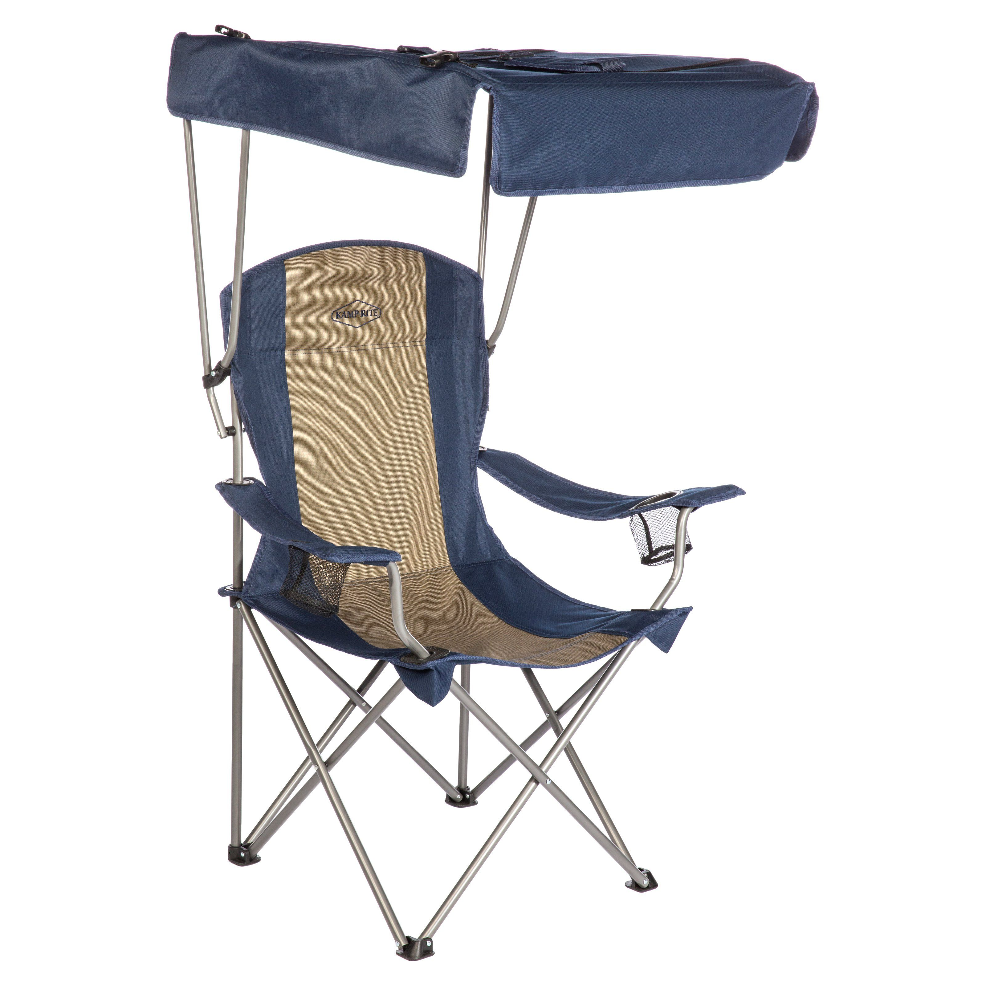 Outdoor kamprite folding lawn chair with shade canopy cc