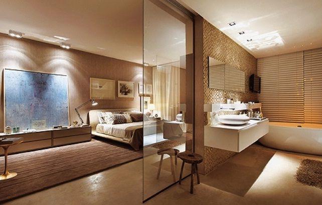 Quartos Lindos ~ Quarto e banheiro (lindos) em tons de bege, separados pela parede da pia e uma divisória de