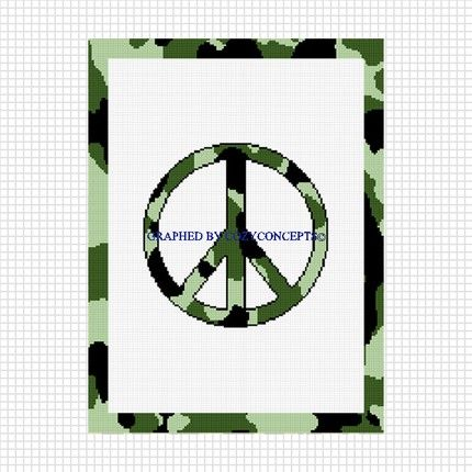 Cozyconcepts Peace Sign Camouflage Greens Crochet Afghan Pattern