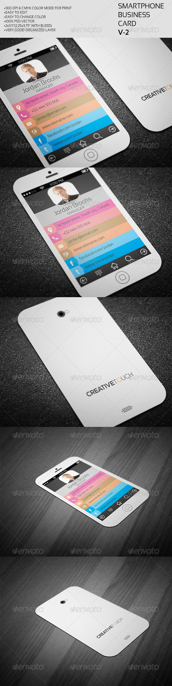 Smartphone Business Card PSD Print Templates| Print Ready | Buy and ...