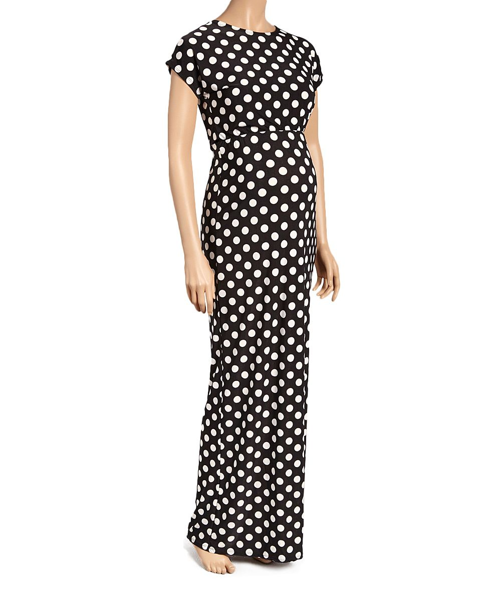 Black Dot Cap-Sleeve Maternity Maxi Dress - Plus Too