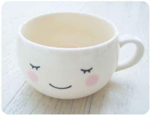 White kawaii cute face Mug Cup-fuwa