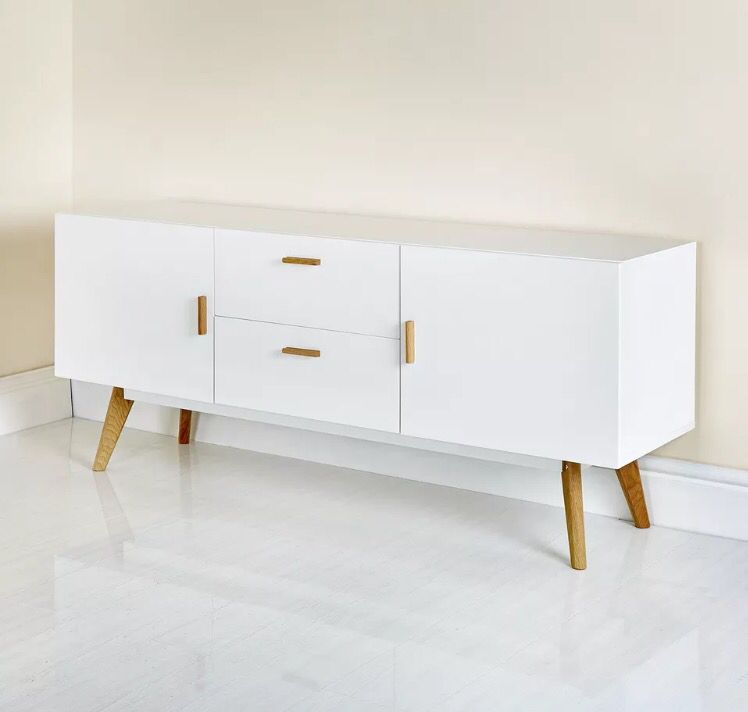 Details About New White Scandinavian Retro Furniture Tv Unit Cabinet