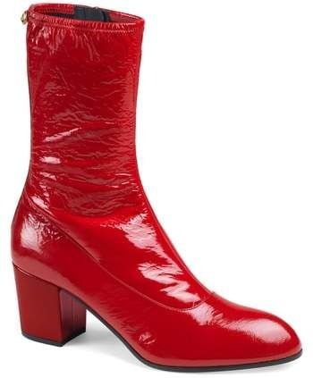 b2dfd7b7670 Gucci Printyl Patent Leather Zip Boot