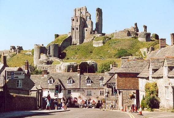 Love this view of Corfe Village and Corfe Castle in