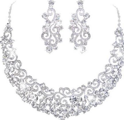 Charm EVER FAITH Bridal Ripple Necklace Earrings Set