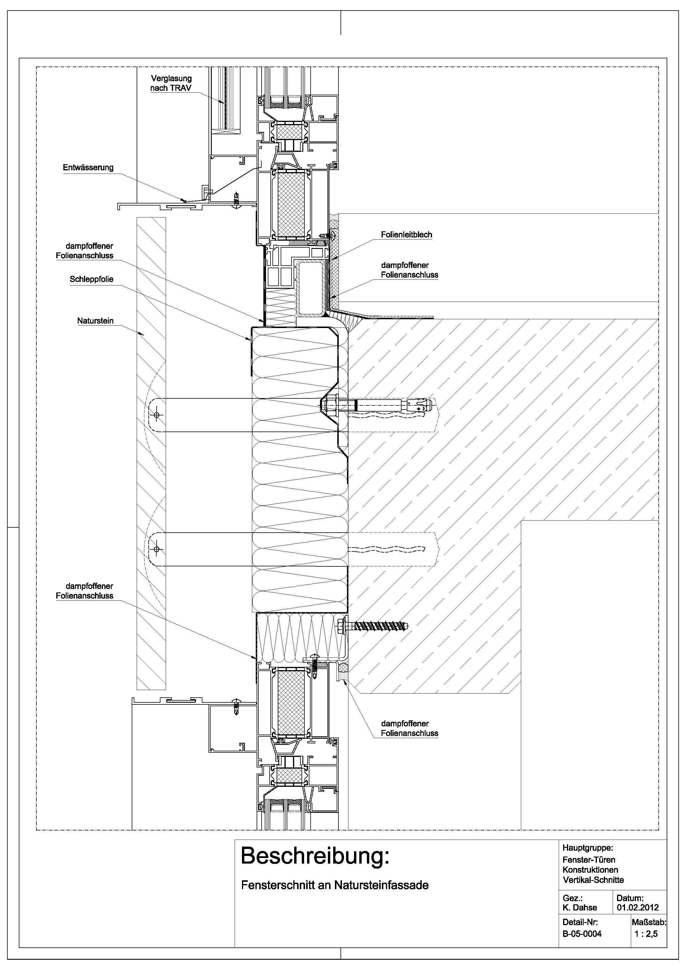B 05 0004 fensterschnitt an natursteinfassade detail for Fenster detail schnitt