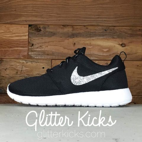Women s Nike Roshe One Casual Shoes By Glitter Kicks - Customized With  Swarovski Crystal Rhinestones - BLACK WHITE METALLIC PLATINUM 6c2ff84acb36